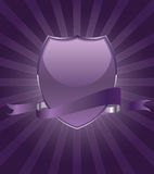 Beautiful brightly party shield emblem with ribbon Royalty Free Stock Images