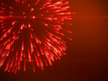 Beautiful Brightly Red Fireworks with Particles. Luxury Background Design Element Stock Photo