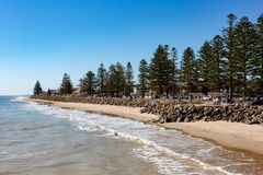 The beautiful Brighton foreshore on a sunny day with blue sky in. South Australia on 13th September 2018 royalty free stock images