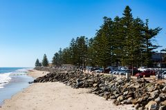 The beautiful Brighton foreshore on a sunny day with blue sky in. South Australia on 13th September 2018 royalty free stock photos