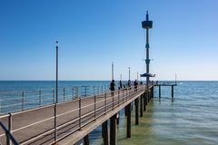 The beautiful Brighton Jetty on a sunny day with blue sky in Sou. Th Australia on 13th September 2018 stock photo