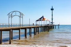 The beautiful Brighton Jetty on a sunny day with blue sky in Sou. Th Australia on 13th September 2018 royalty free stock images