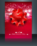 Beautiful brochure card for valentine's day heart wedding Stock Photo