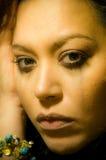 Beautiful broken hearted multiracial. Portrait of a beautiful broken hearted multiracial girl stock photos