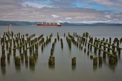 Beautiful broken symmetry of mossy pilings with ship in backgrou. Decayed, mossy pilings show old symmetry with ship in background at Astoria on Oregon coast Stock Photos