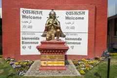 Beautiful bronze sculpture on March 24, 2018 at the airport of K. Kathmandu Airport, Nepal - March 24, 2018: Beautiful bronze sculpture on March 24, 2018 at the stock images