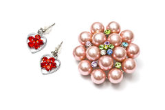 Beautiful brooch and earrings royalty free stock photos