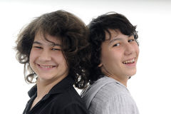 Beautiful brothers smiling. Two happy teens having fun together Royalty Free Stock Photo