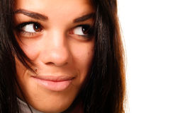 Beautiful brown eyed woman. Young beautiful brown eyed woman portrait stock photo