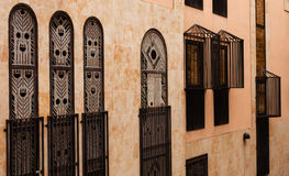 Beautiful brown facade with stained glasses Stock Image