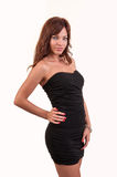 Beautiful brown hair woman in elegant black dress Royalty Free Stock Image