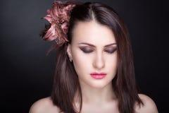 Beautiful brown hair woman Stock Photos
