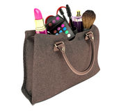 Beautiful brown makeup bag and cosmetics isolated on white Stock Images
