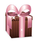 Beautiful brown and pink wrapped gift box. Stock Photos