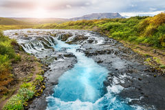 Beautiful Bruarfoss waterfall with turquoise water in Iceland Royalty Free Stock Images
