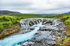 Beautiful Bruarfoss waterfall with turquoise water Stock Image