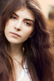 Beautiful brunett woman. Portrait of beautiful brunett woman royalty free stock photo
