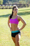 Beautiful Brunette Ahtlete Stretches Outdoors (1) Stock Images