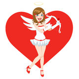 Beautiful Brunette Angel Cupid. Girl holding bow and love arrow Royalty Free Stock Photos