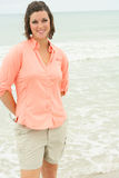 Beautiful Brunette At The Ocean Stock Image