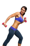 Beautiful Brunette Athlete with Hand Weights (2) Royalty Free Stock Images