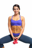 Beautiful Brunette Athlete with Hand Weights (5). A lovely young brunette with extraordinary abdominal musculature works out with hand weights Stock Photo