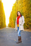 Beautiful brunette in the autumnal park Royalty Free Stock Images