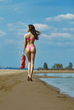 Beautiful brunette on the beach on a hot summer day Stock Photos