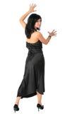 Beautiful brunette in black dress Stock Image