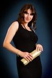 Beautiful brunette black dress Stock Image