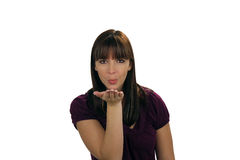 Beautiful Brunette Blows a Kiss (1) Royalty Free Stock Photos