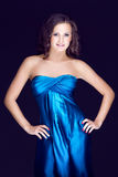 Beautiful brunette in blue dress Royalty Free Stock Photo