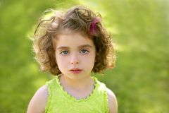 Beautiful brunette blue eyes little girl Royalty Free Stock Photo