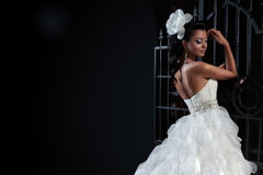 Beautiful brunette bride in black background. Royalty Free Stock Photography