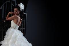 Beautiful brunette bride in black background. Royalty Free Stock Image