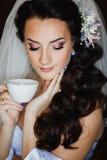 Beautiful brunette bride, bride morning Stock Photo