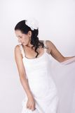 Beautiful brunette bride holding her white veil Stock Photography
