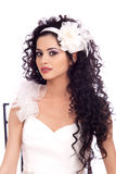Beautiful Brunette Bride with long curly hair Stock Photos