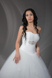 Indoors bridal portrait on gray background Royalty Free Stock Photos