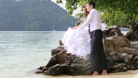 Beautiful brunette bride sitting on rock embraces groom. Beautiful brunette bride sitting on rock embraces and kisses groom at background of beach sea and tree stock footage