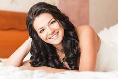 Beautiful brunette bride Stock Photography