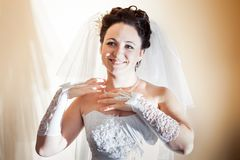 Beautiful brunette bride Royalty Free Stock Images