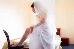 Beautiful brunette bride Stock Photos