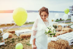 Beautiful brunette bride in a white dress at wedding Stock Photos