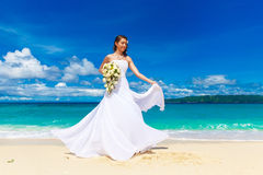 Beautiful brunette bride in white wedding dress with big long wh Stock Photography