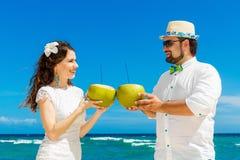 Beautiful brunette bride in white wedding dress and groom having Stock Photo