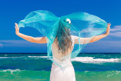 Beautiful brunette bride in white wedding dress with turquoise v Royalty Free Stock Photos