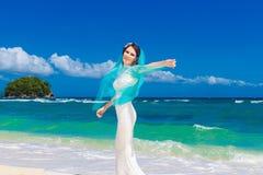 Beautiful brunette bride in white wedding dress  Royalty Free Stock Photo