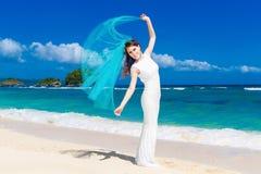 Beautiful brunette bride in white wedding dress Stock Image