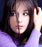 Beautiful brunette with  brown eyes posing Royalty Free Stock Photos